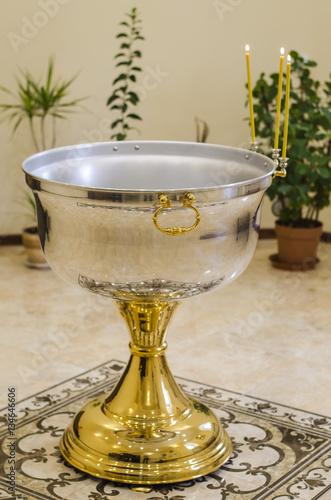 bowl for baptism of newborn Fototapeta