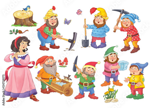Fototapeta Snow White and the seven dwarfs
