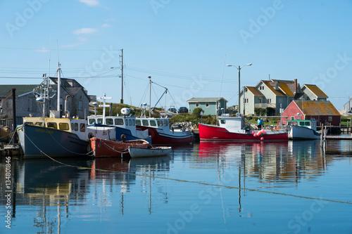 Obraz na płótnie Boats Harbored at Peggy's Cove, Nova Scotia Travel Stock Photo