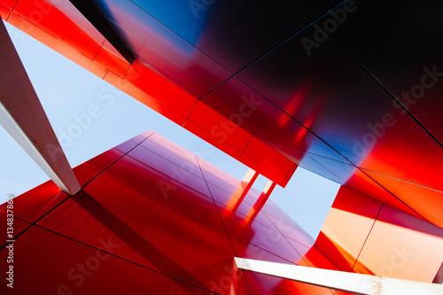 Fototapeta premium Szeroki kąt abstrakcyjne tło widok ze stali jasnoniebieski wysoki ris