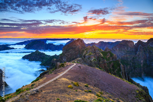 beautiful sunset over the mountains, Madeira Island, Portugal