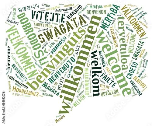 Photo Wortwolke Willkomen in vielen Sprachen