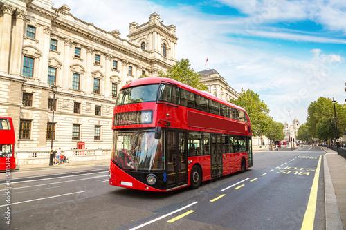 Modern red double decker bus, London Fototapet