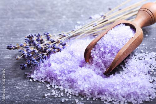 Wallpaper Mural purple bath salt and dried flowers of lavender