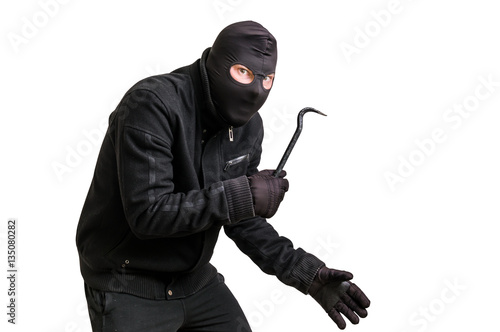 Canvas Print Masked thief in balaclava with crowbar isolated on white