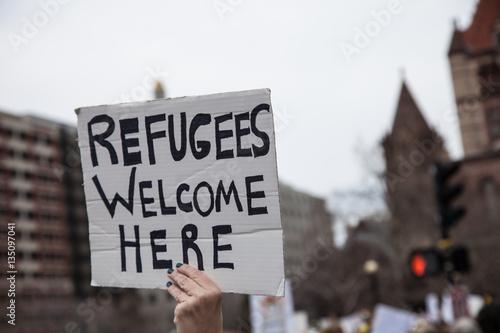 Obraz na płótnie Refugees Welcome Here
