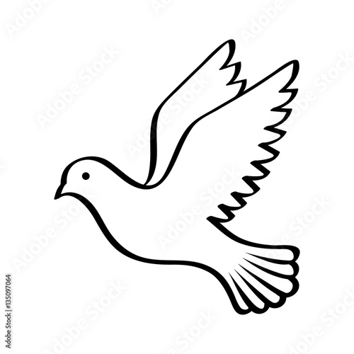 Fotografering Flying bird - dove or pigeon with its wings spread line art vector icon for natu