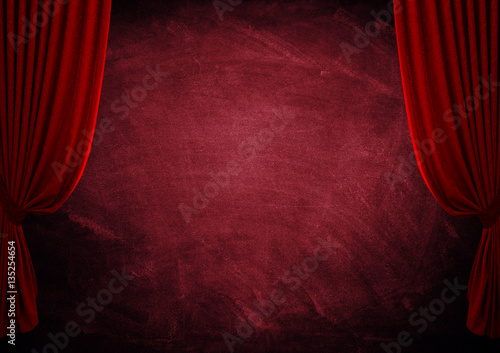 Fotografie, Tablou Room interior vintage with curtains and wall