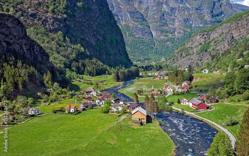 Fotografie, Obraz Beautiful small village at Flam, Norway.