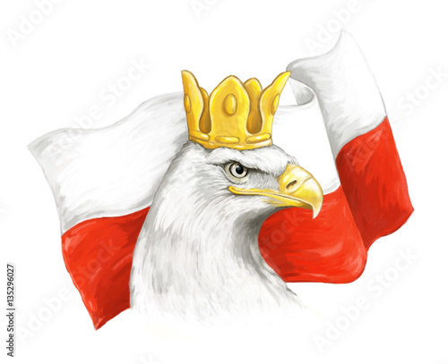 Wallpaper Mural Cartoon eagle and polish flag - head in crown - illustration for children