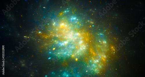 Fotografia Colorful green nebula in space
