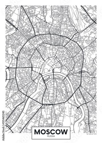 Fotografie, Obraz Vector poster map city Moscow