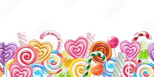 Lollipops candy border background. Hard candies on stick. Fototapeta