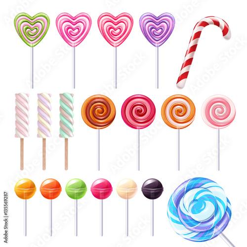 Canvas Print Big lollipops set vector illustration.