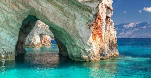 Obraz na plátně Blue caves on Zakynthos Island Greece