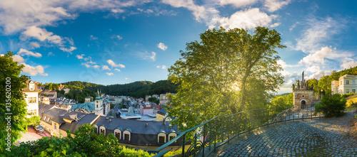 Fotografie, Obraz Panorama view of Karlovy Vary from U Tri Krizu Viewpoint