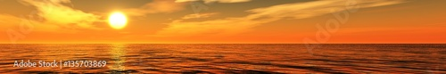 Panorama of sea sunset light over the ocean
