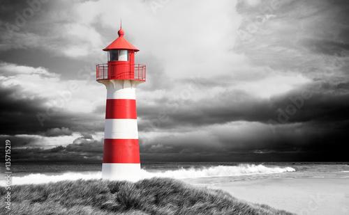 Canvas Print Leuchtturm an der Küste schwarz/weiß