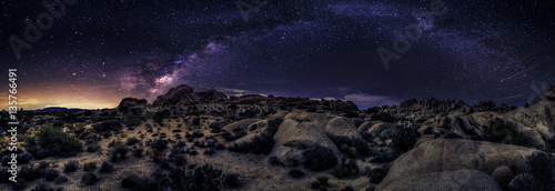 Fotografie, Obraz View of the Milky Way Galaxy at the Joshua Tree National Park