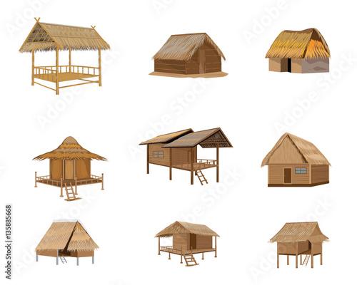 Fotografie, Tablou straw roof hut vector design