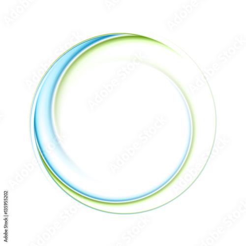 Abstract bright blue green iridescent circle logo Fototapeta
