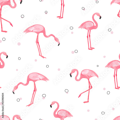 Watercolor pink Flamingo seamless pattern. Vector background design with flamingos for wallpaper, fabric, textile.