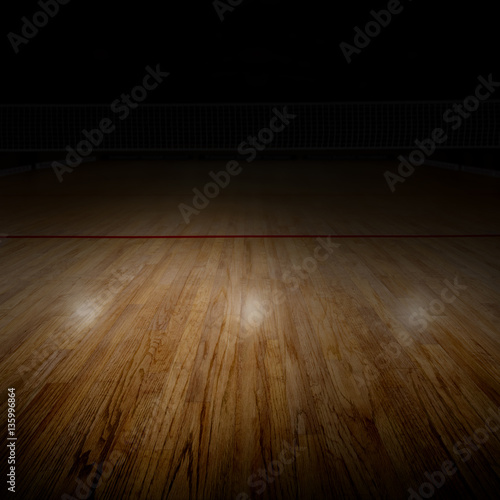 Volleyball Court With Special Spot Lighting and Copy Space