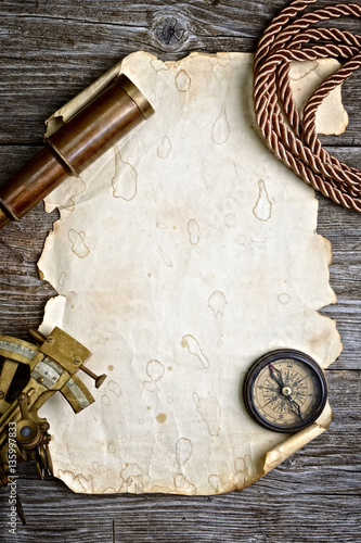 vintage still life with compass,sextant and spyglass Fototapeta