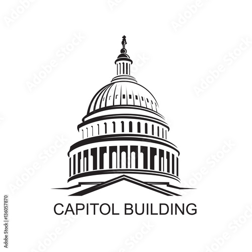 Canvas Print Unated States Capitol building icon in Washington DC