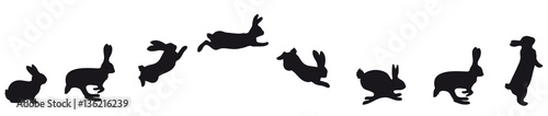Fotografie, Obraz jumping Silhouettes of Easter bunnies black