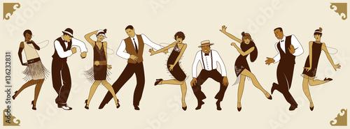 Fototapeta premium Impreza Charleston. Grupa młodych ludzi tańczących charleston