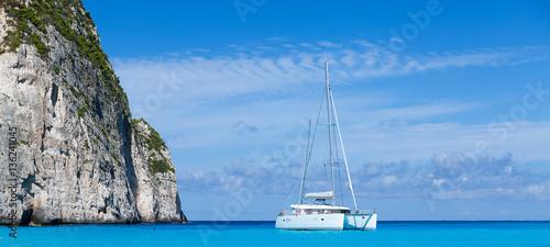 Canvas White catamaran in the Blue Lagoon