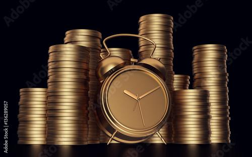 Tablou Canvas Alarm clock with golden coins