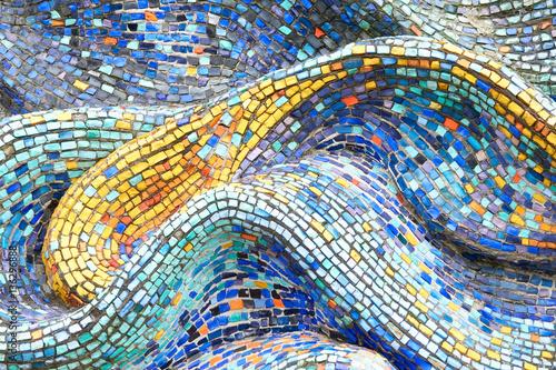 Canvas Print Texture Mosaic Tiles  Colorful Wave Background