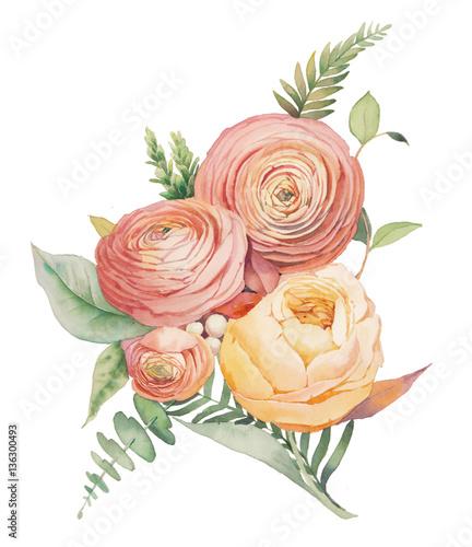 Canvas Print Watercolor flowers bouquet