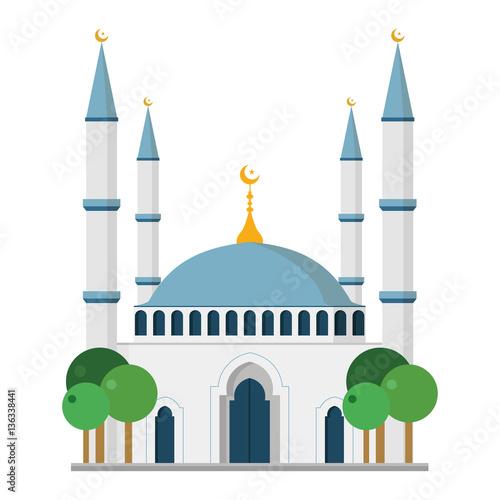 Obraz na plátně Cute cartoon vector illustration of a mosque