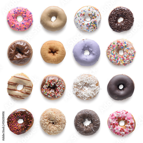 Fotografija Set of assorted donuts isolated on white background. Include cli