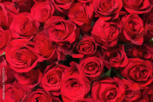 Romantic red roses background in low poly style. Low poly design triangular rose bouquet.  #136393274