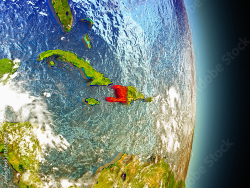 Fotografiet Haiti in red from space