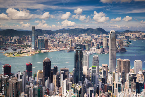Wallpaper Mural View point of Hongkong city and Kowloon city from the top of vic