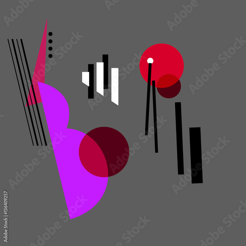 Abstract constructivism art style design. Jazz music, Abstract geometric vector illustration.