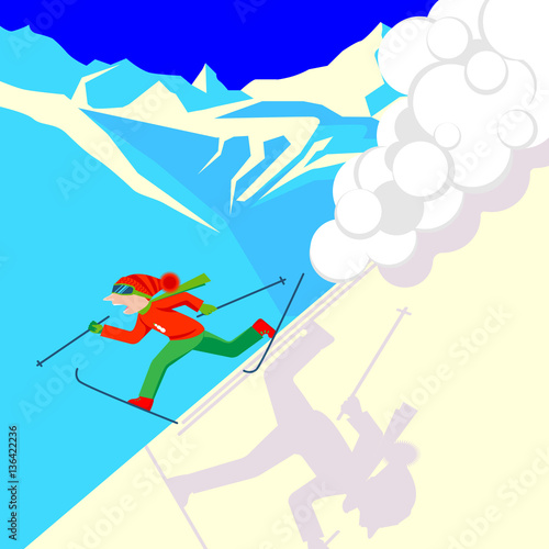 Obraz na płótnie Man escaping from snow avalanche in mountains