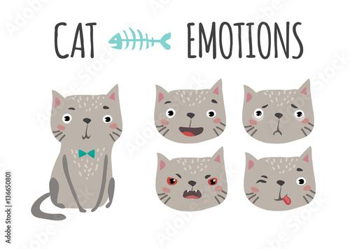 Stampa su Tela Cute cat. Set of emotions