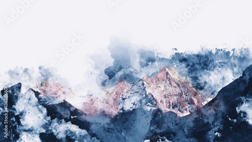 Abstract mountain ranges in morning light,  digital watercolor p