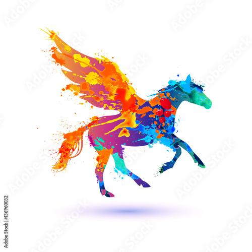 Obraz na plátně Pegasus vector symbol. Watercolor splash paint