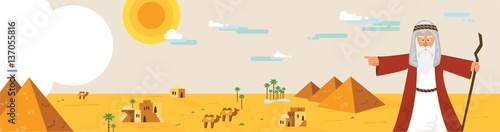 Fotografia, Obraz Web banner with Moses from Passover story and Egypt landscape