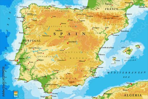 Wallpaper Mural Spain physical map