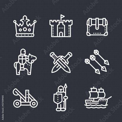 Fototapeta medieval war line icons set, knight, spearman, horseman, crown, castle, catapult