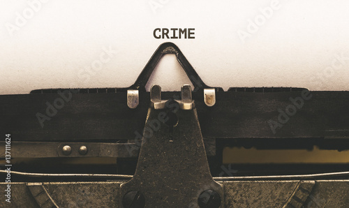 Stampa su Tela Crime, Text on paper in vintage type writer from 1920s
