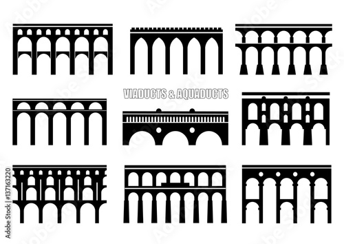 Obraz na plátne Set of bridge silhouettes